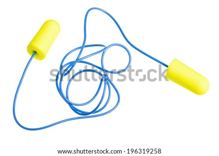 Yellow earplugs with blue band isolated on white background - stock photo