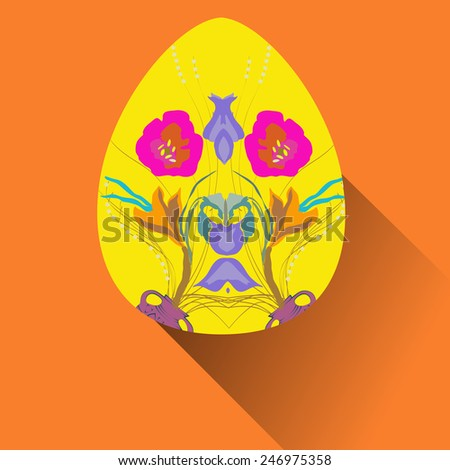 Yellow Easter egg with floral ornaments on an orange   background. Hand drawn.