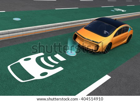 Yellow electric car on EV wireless charging lane. The in-road wireless charging coil have graphic to show charging progress. 3D rendering image. - stock photo