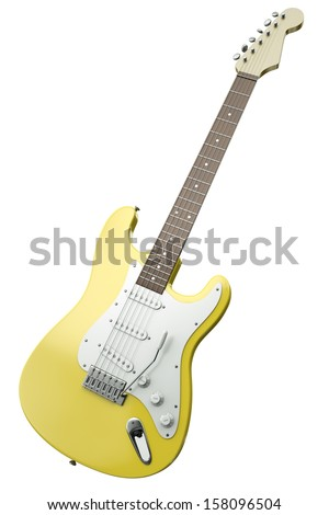 Yellow electric guitar isolated on white background. 3D render. - stock photo