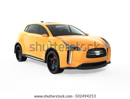 Yellow electric SUV concept car isolated on white background. 3D rendering image with clipping path.