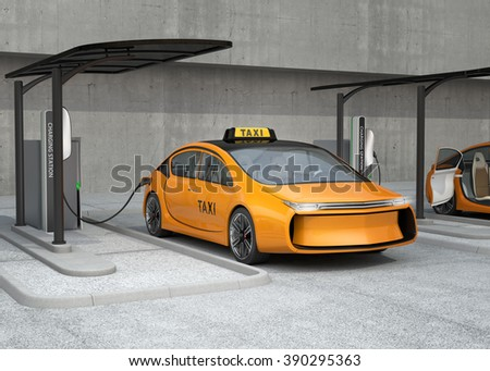 Yellow electric taxi charging in charging station.