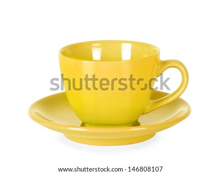Yellow empty cup Isolated on a white background.