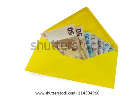 Yellow envelope with Euros isolated on white background