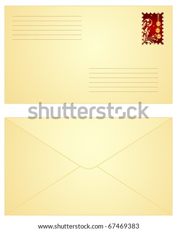 Yellow envelope with red Christmas stamp,  both sides.