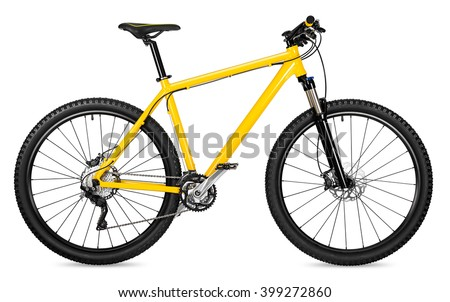 yellow 29er mountain bike isolated on white background