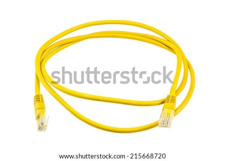 Yellow ethernet Line on isolated white background. - stock photo