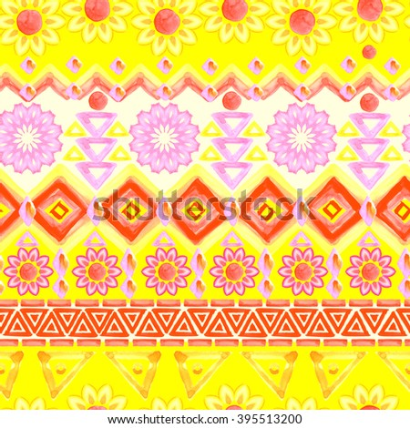 Yellow ethnic pattern. Watercolor tribal background. - stock photo