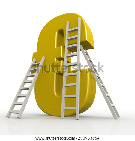 Yellow euro sign with ladder image with hi-res rendered artwork that could be used for any graphic design. - stock photo
