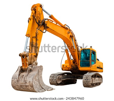 Yellow excavator - stock photo