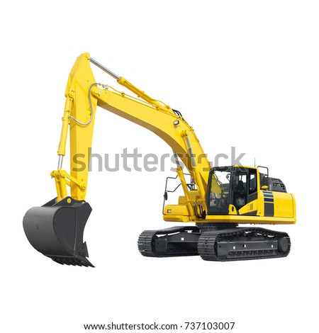 Yellow Excavator on Tracks Isolated on White. Excavator Loader Machine. Side View of Front Hoe Loader. Industrial Vehicle. Heavy Equipment Machine. Pneumatic Truck. Construction Equipment