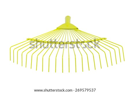 Yellow fan rake isolated white background closeup