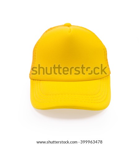 Yellow fashion cap on isolated background. Sun protection sport hat for your brand and design.