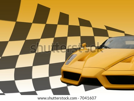 Yellow Ferrari Enzo super car on a chequered flag background - stock photo