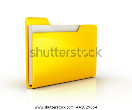 Yellow file folder. 3d illustration