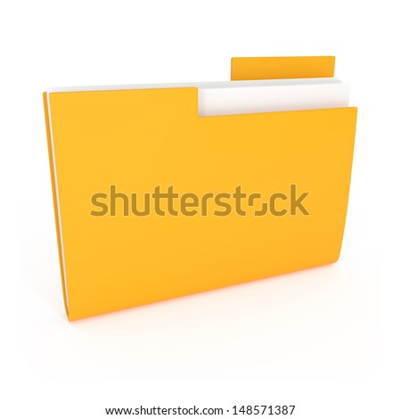 Yellow File Folder Icon isolated on white - 3d illustration