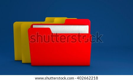 Yellow file folder icon on blue background