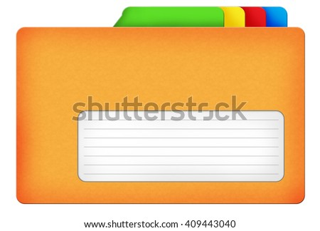 Yellow file folder illustration with colored bookmarks and blank area isolated over white background - stock photo