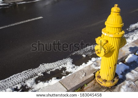 Yellow Fire pumps on the street - stock photo