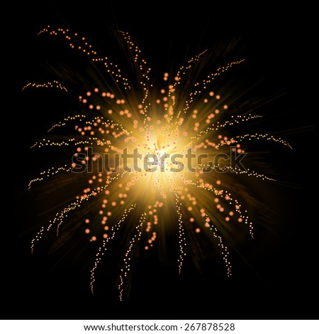Yellow fireworks in solid black background