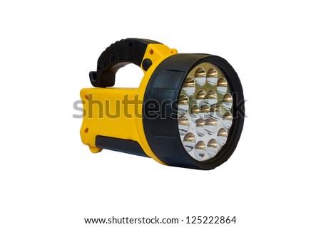 Yellow flashlight isolated on white - stock photo