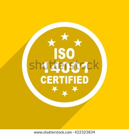 yellow flat design iso 14001 web modern icon for mobile app and internet