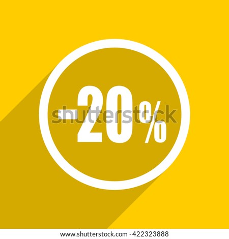 yellow flat design 20 percent sale retail web modern icon for mobile app and internet
