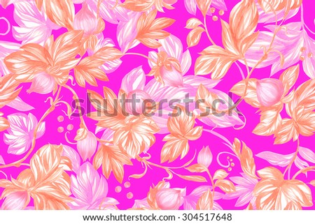 Yellow floral template on a pink backdrop. Blossom pink roses and peony seamless pattern and luminous leaves on black backdrop. Watercolor markers handmade illustration - stock photo