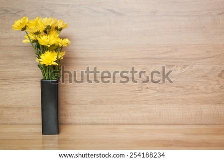 yellow flower Chrysanthemum in vase - stock photo