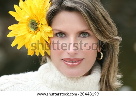Yellow Flower - Gorgeous woman with yellow flower in her hair, suitable for a variety of seasonal, beauty, gender themes