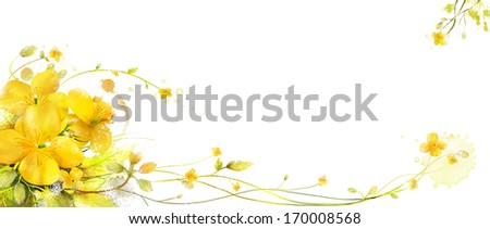 Yellow flowers border a white background.