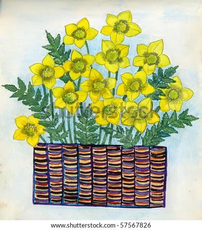Yellow flowers gouache on paper handwork stock illustration 57567826 yellow flowers gouache on a paper handwork mightylinksfo
