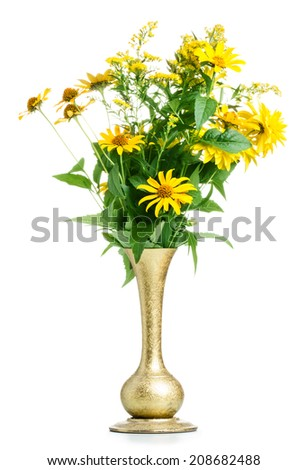 Yellow flowers in vase isolated on white background - stock photo