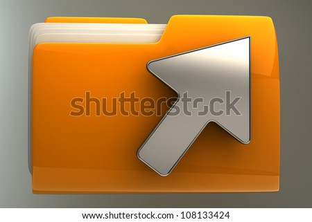 Yellow folder and arrow icon. Date download High resolution 3D