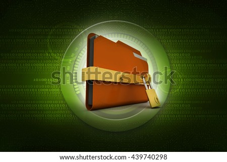 Yellow folder and lock. Data security concept. 3D - stock photo
