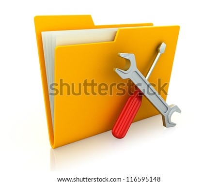 Yellow folder and tools. Computer technical service. Isolated 3D image - stock photo
