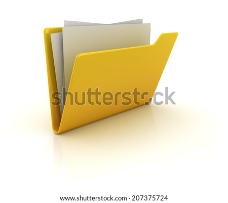 Yellow folder , computer generated image. 3d render.