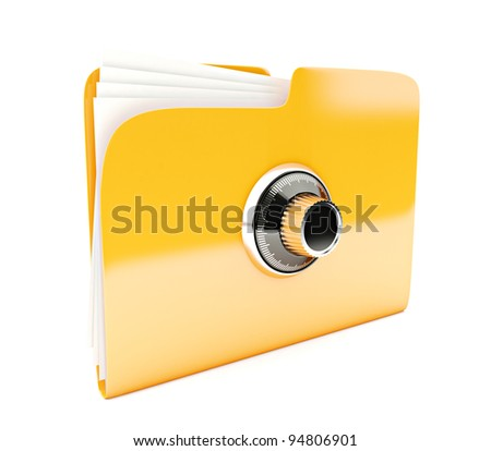 yellow folder 3d icon with combination lock isolated on white