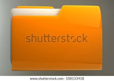Yellow folder. File 3D. Icon High resolution - stock photo