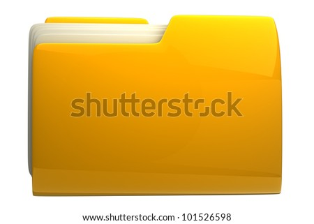 Yellow folder. File 3D. Icon isolated on white background High resolution - stock photo