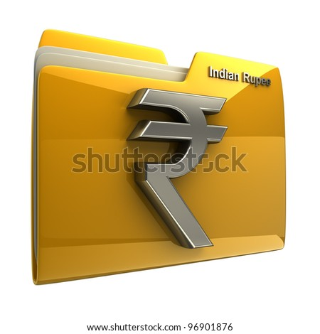 Yellow folder icon with Indian rupee symbol isolated on white background High resolution