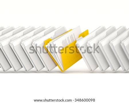 Yellow folder in a row isolated on white - stock photo