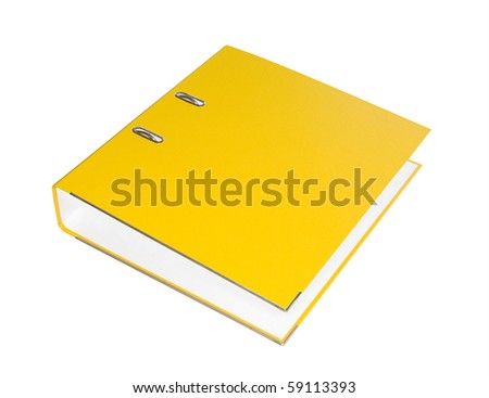 Yellow folder on a white background. Isolated..... - stock photo