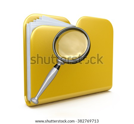 Yellow folder search 3d icon - folder under the magnifier. 3d illustration isolated on white in the design of the information related to computer technology