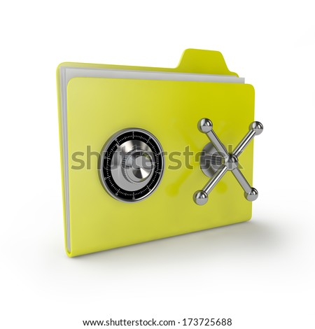 yellow folder with a combination lock on the bank vault