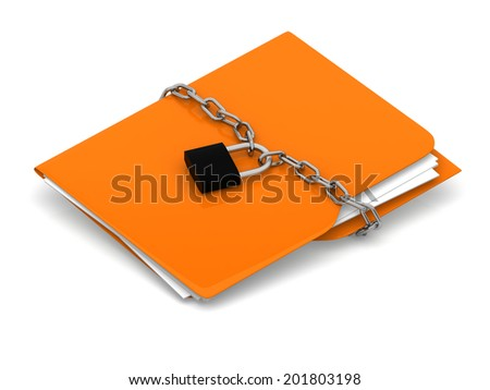 Yellow folder with chain and lock. Data security concept. 3d rendering - stock photo