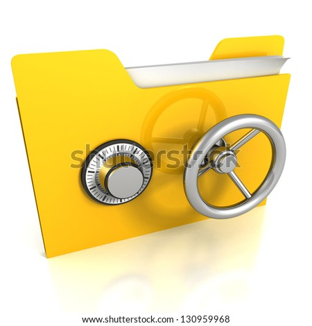 Yellow folder with safe lock. Data security concept. - stock photo