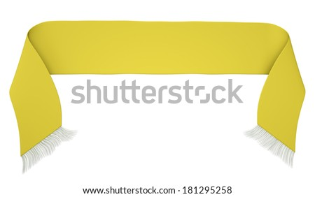 Yellow football scarf isolated on a white background. 3D render - stock photo