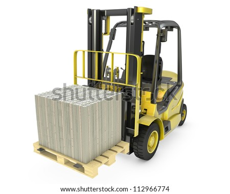 Yellow fork lift truck moves stacked dollars, isolated on white background - stock photo