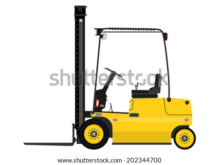 Yellow fork lift truck on a white background. Raster - stock photo